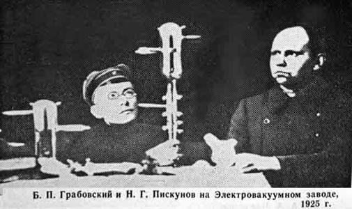 Грабовский и Пискунов на Электровакуумном заводе, 1925 г.