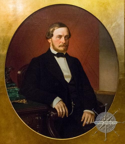Посмертный портрет (исполнен по фотографии) Ефима Федоровича Гучкова (автор Лаш Карл Иванович, 1860 г.) -