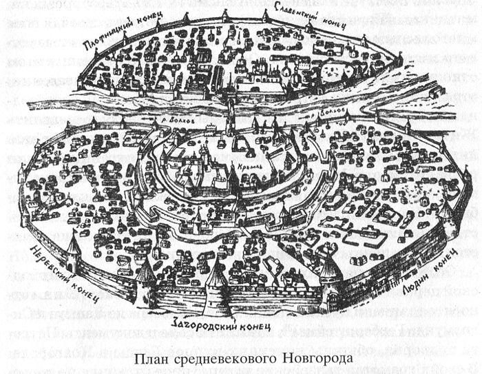 План средневекового Новгорода.