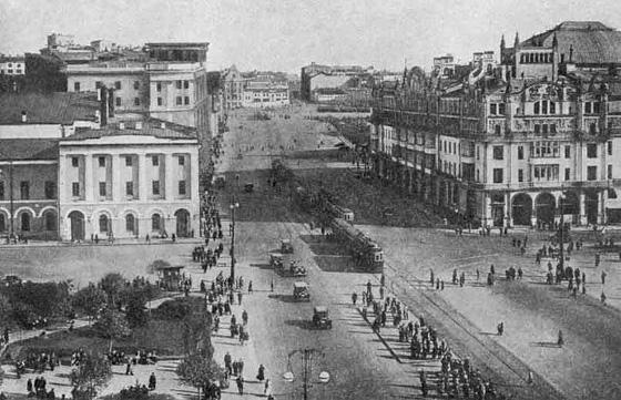 Театральный проезд после сноса Китайгородской стены в 1934 г.