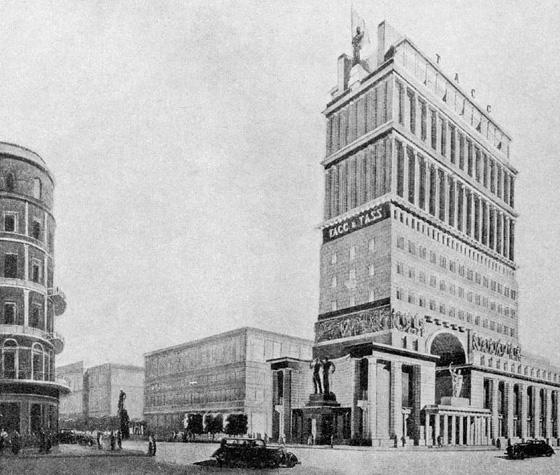 Проект здания ТАСС (один из вариантов) на углу ул. им. Горького и Пушкинской площади. Авт. арх. И. Голосов