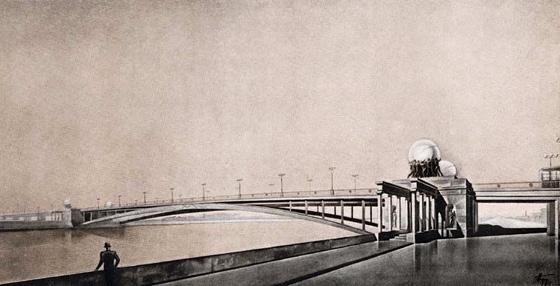 Проект моста метро через Москва-реку (один из вариантов). Авторы: худ.-арх. Е. Боров и арх. Ю. и К. Яковлевы