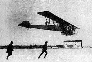 Илья Муромец садится на Корпусном аэродроме в Санкт-Петербурге, февраль 1914 г.
