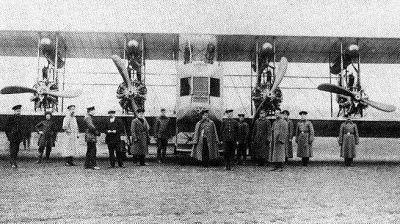 Илья Муромец (тип Б) оснащенный двигателями Сальмсон в Петрограде вскоре после начала Первой мировой войны